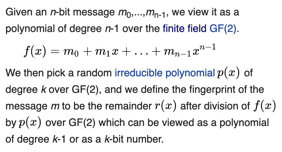 Wikipedia: Rabin fingerprint
