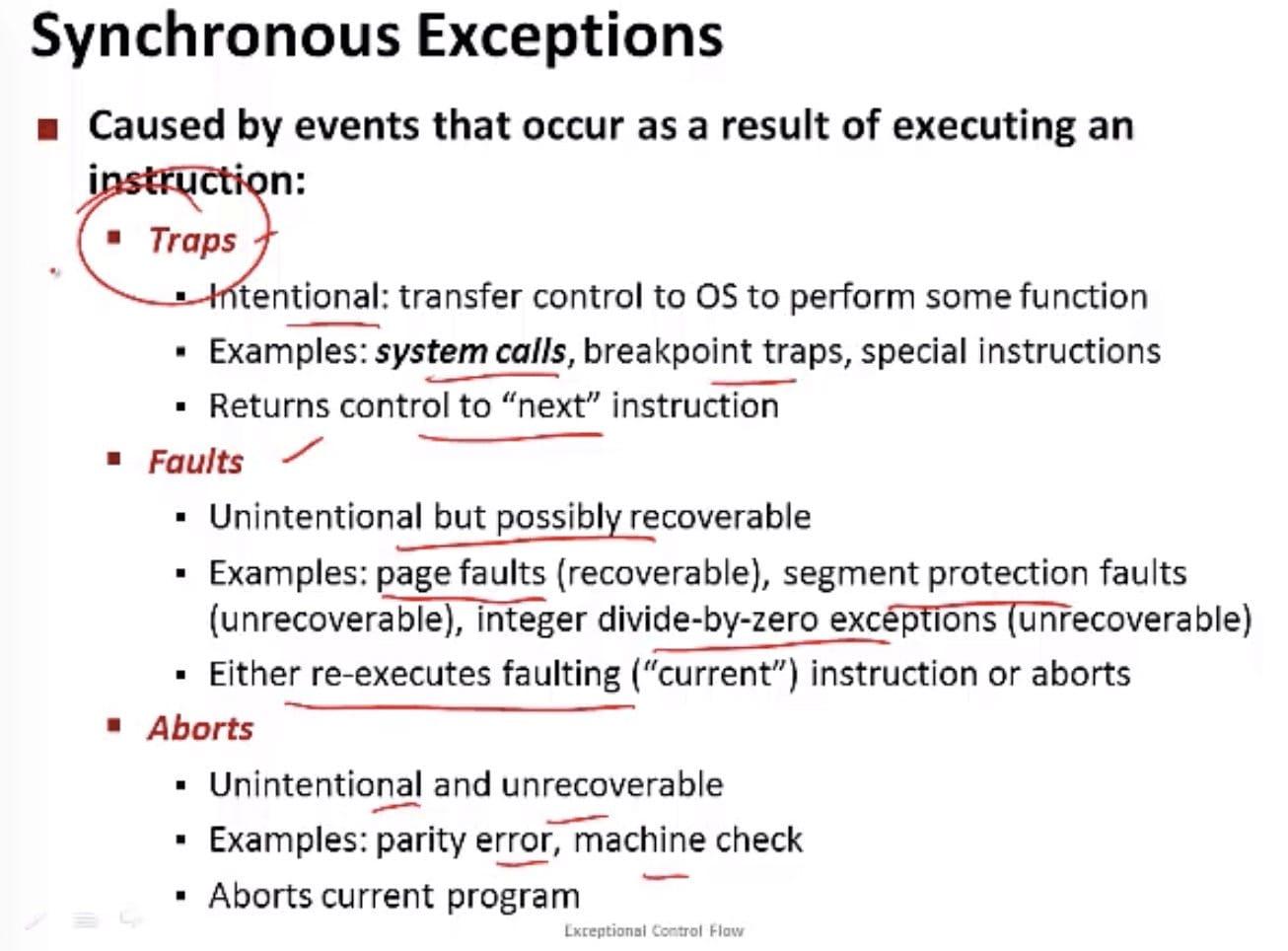 同步异常(CSE 351 - Processes, Video 1: Exceptional control flow)