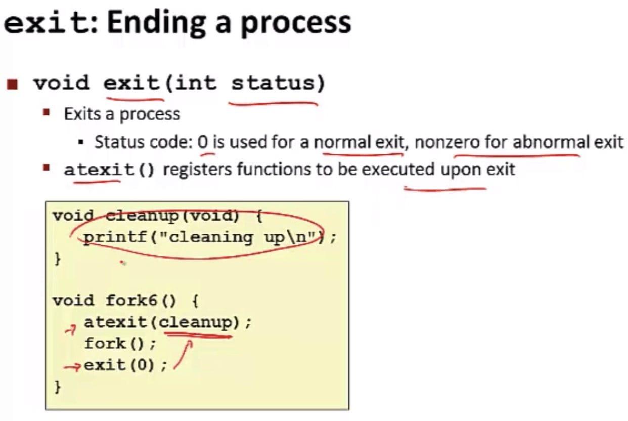 exit 函数(CSE 351 - Processes, Video 4: Fork-exec)
