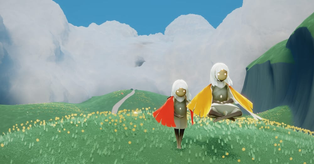 Stylized Grass in Sky: Children of the Light (in-game screenshot)