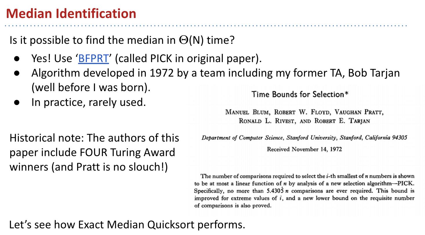 Median Identification (BFPRT / PICK)